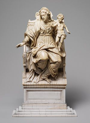 Virgin and Child Enthroned (from the workshop of Christoph Angermair)    17th century, South German Ivory; 11 1/4 x 6 5/8 in. (28.6 x 16.8 cm)