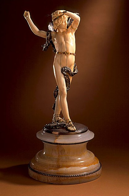 Cupid, 1875 Sculpture, Ivory, silver, and semi-precious stones, with onyx base