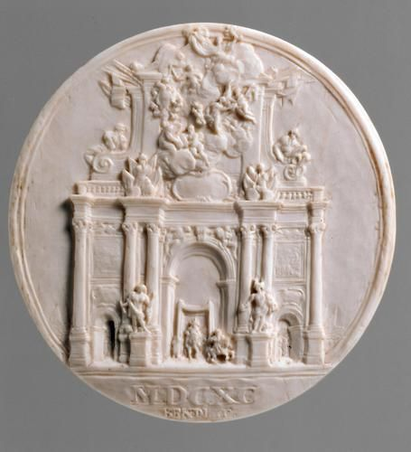 Ivory relief. Medallion mit Triumphbogen für König Joseph I. ( Medallion with triumphal arch for King Joseph I.) Vienna 1690.  Diameter. 6.3 cm. Signature and dating: