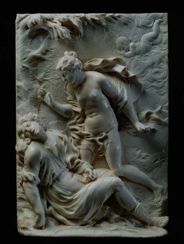 Venus and Adonis, ivory, 1675, 18.1 x 12.5 cm